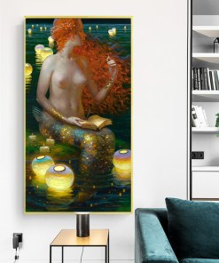 Eternal Nude Mermaid By The Shore Frameless Art Poster