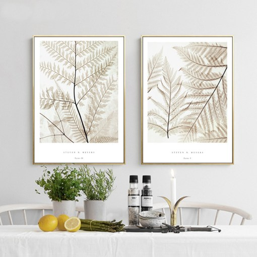 Cordial Fern Plants And Leaves Frameless Wall Poster