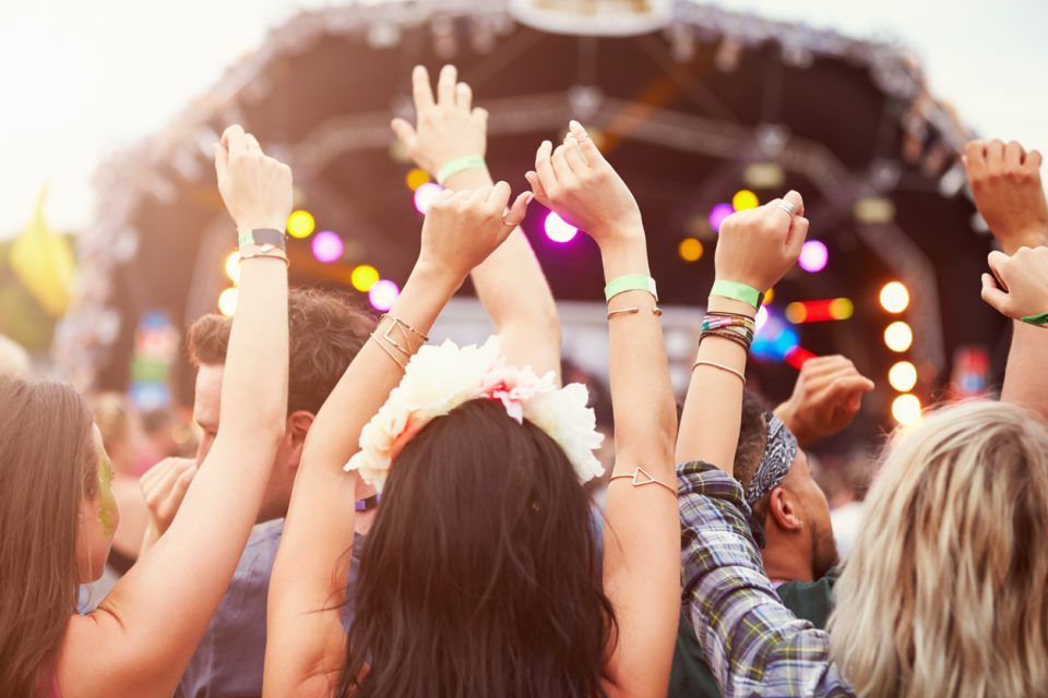 Audience with hands in the air at a Summer Arts Festival
