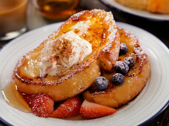 French Toast with Maple Syrup and Berries