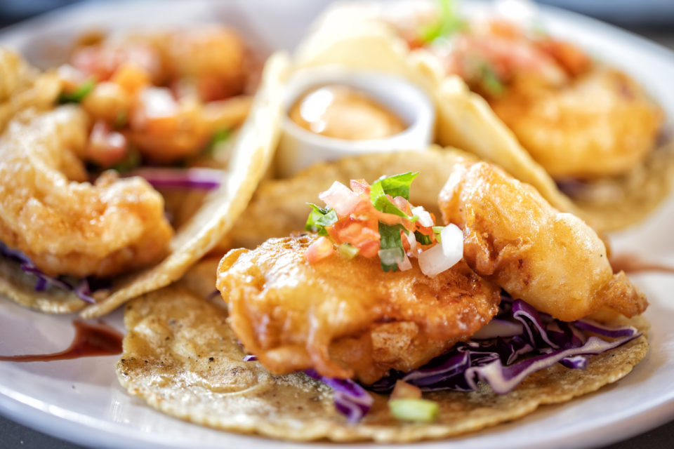 Low California-style shrimp tacos