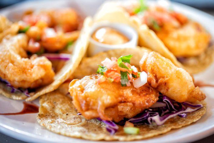 Low California-style shrimp tacos