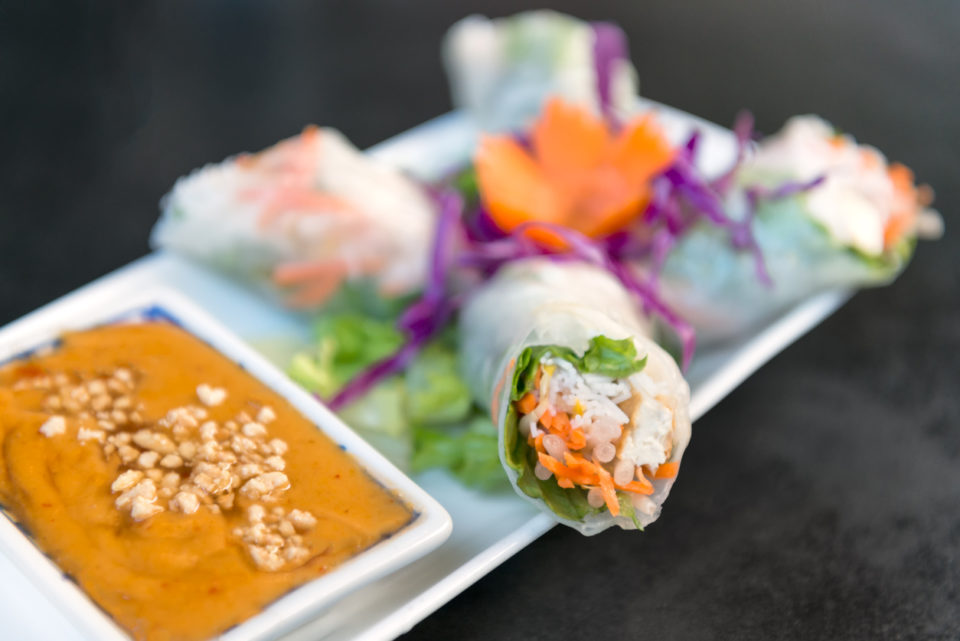 Vegetarian Salad Roll with Peanut Dipping Sauce