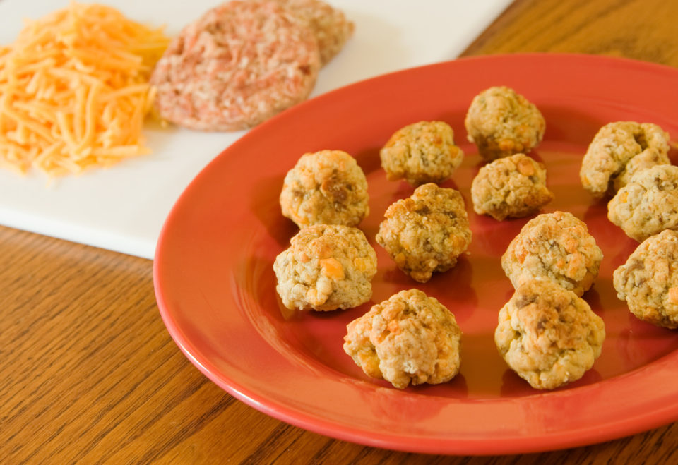 Sausage balls made with hot sausage and cheddar cheese.