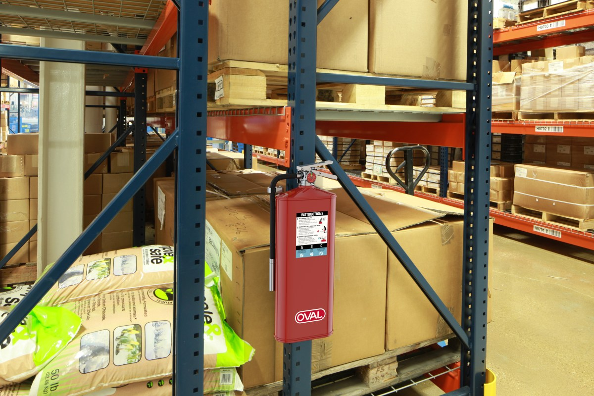 Oval Brand Fire Extinguisher Model 10HABC installed on a Factory Pallet Rack