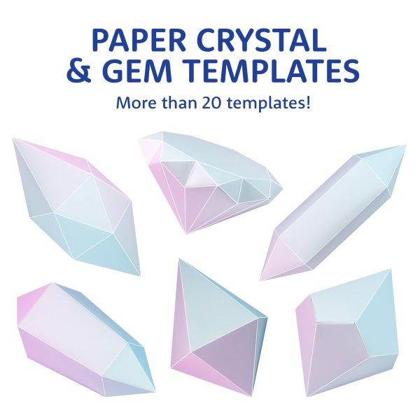 Printable Paper 3D Geometric Shape Templates - Paper Kawaii Shop