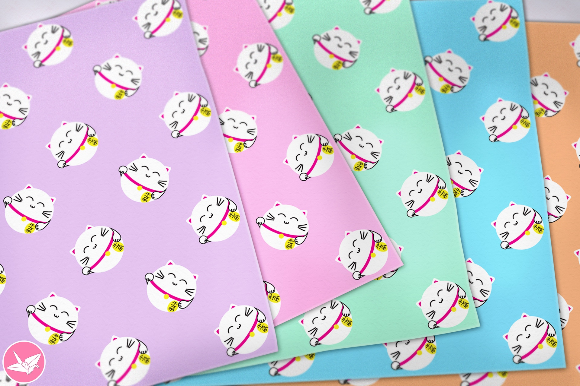 Japanese Lucky Cats Printable Origami Paper - Paper Kawaii ... - photo#8