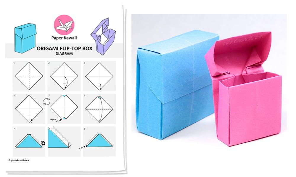 Origami Flip Top Box Diagram
