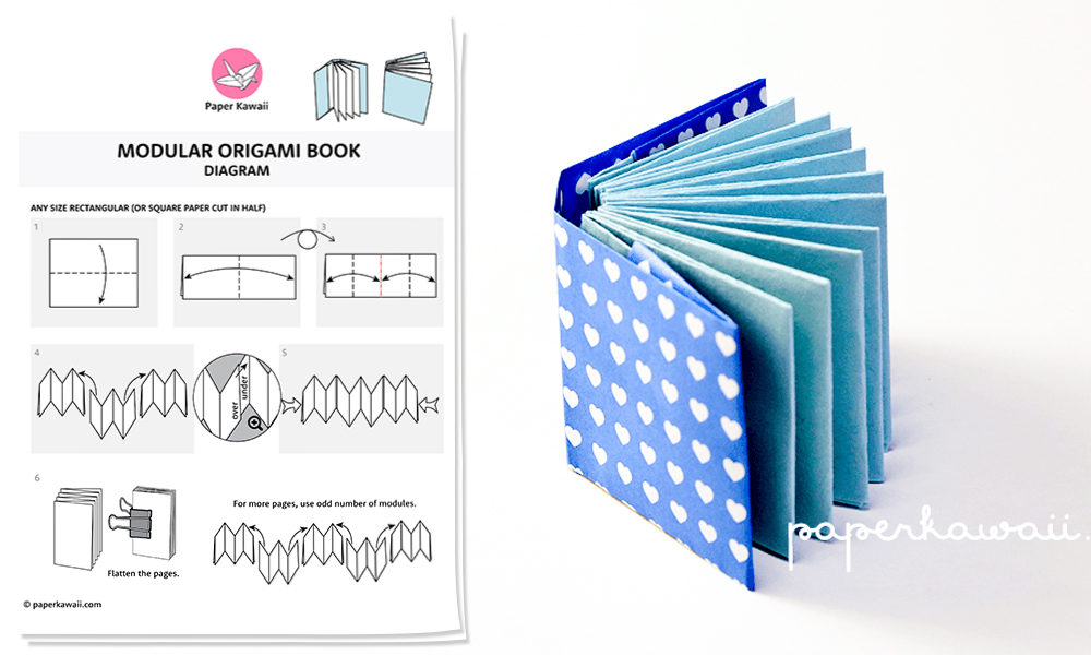 Origami Mini Book Diagram  Paper Kawaii Shop