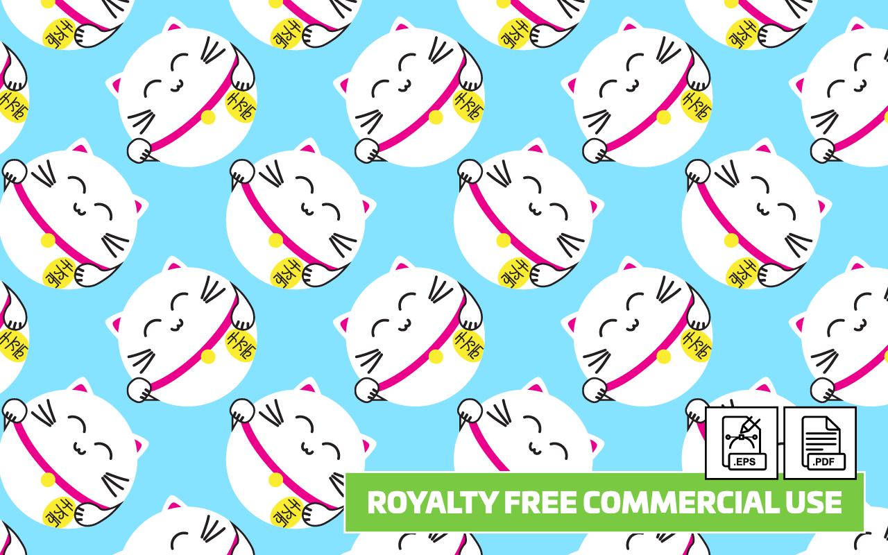 Lucky Cat Seamless Vector Pattern - Royalty Free - Paper ... - photo#22