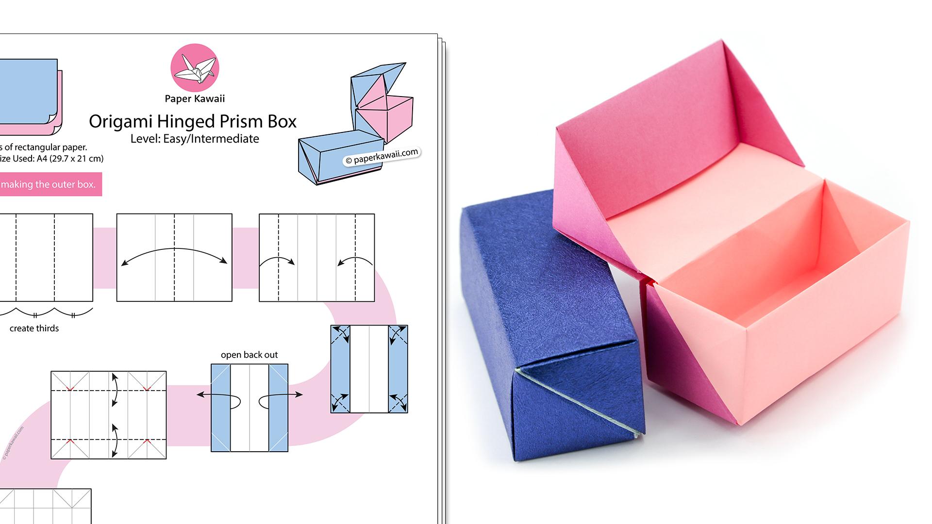 Origami Hinged Prism Gift Box Diagram - Paper Kawaii Shop - photo#34