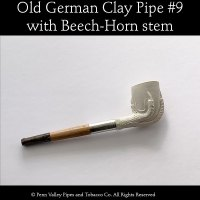 Old German clay pipe #9 claw and egg with beech-horn stem at Pipeshoppe.com