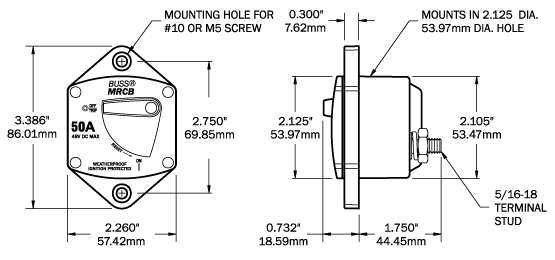 Blue Sea Systems 7046 Panel Mount 187-Series DC Circuit