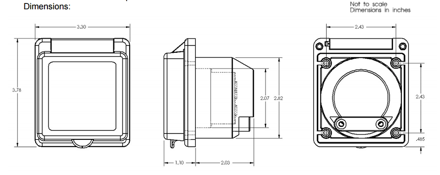 Marinco 301EL-B Easy Lock standard boat power inlet for 30