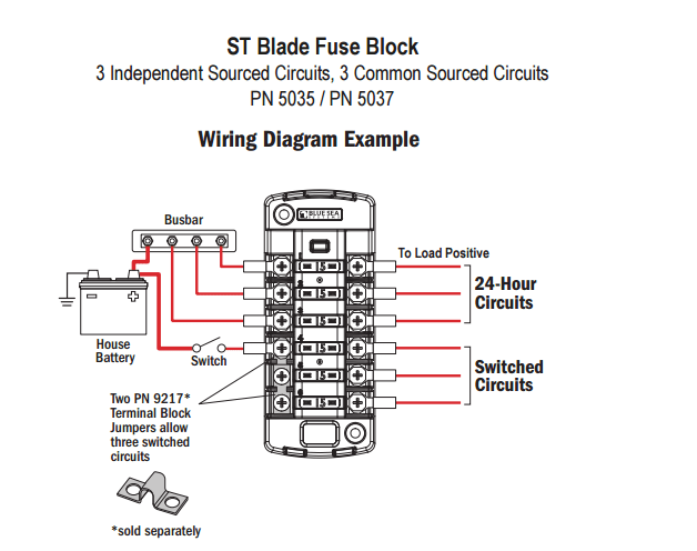 blue sea 5035 st blade fuse block for 6 independent circuits