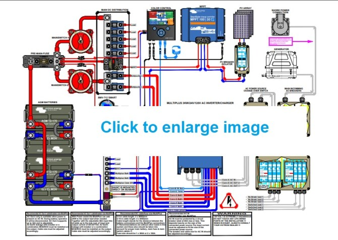 demo electrical system layout with victron 24 volt multiplus