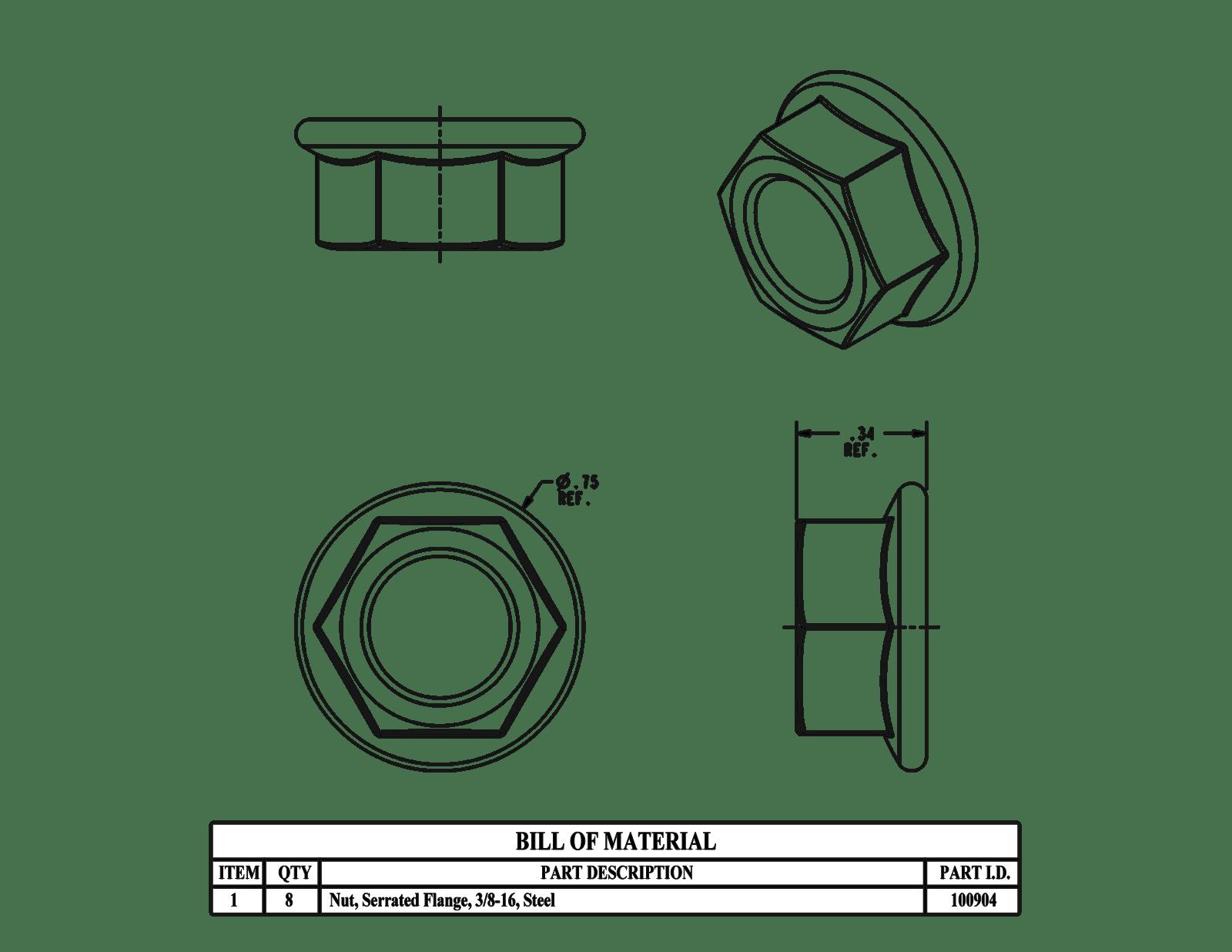 SCE-102298 Saginaw Bolt Pack, Subpanel 3/8-16 (4pcs) NEMA