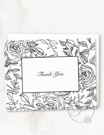 FLORAL THANK YOU CARD BLACK GREETING CARD LAYOUT