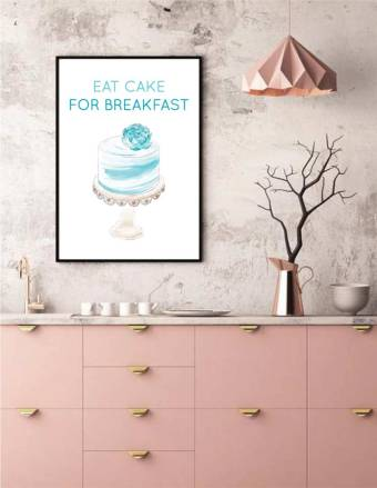 WATERCOLOR EAT CAKE FOR BREAKFAST WALL ART