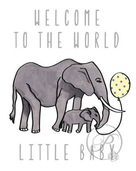 WATERCOLOR ELEPHANT TO WORLD BABY WALL ART