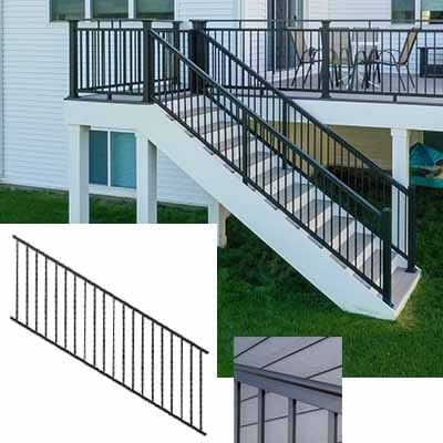 Ultralox® Aluminum Railing Panel Stair Pro Deck Supply Mn | Graspable Handrail For Deck Stairs | Simple | Made 2X4 | 2 Foot | Code Compliant | Tall