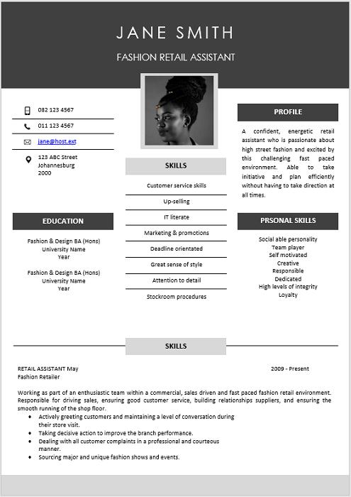 Fashion Retail Curriculum Vitae Professional Cv Zone