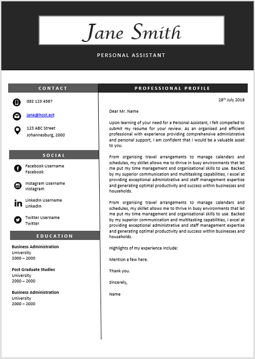 Personal Assistant Cover Letter - Professional CV Zone | Templates