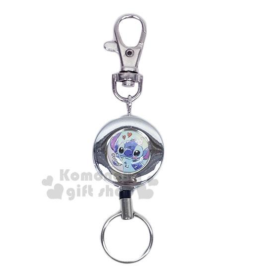 〔小禮堂〕迪士尼 史迪奇 圓形鐵製伸縮易拉扣鑰匙圈《藍銀.摸臉》吊飾.掛飾.鎖圈 - 小禮堂卡通百貨
