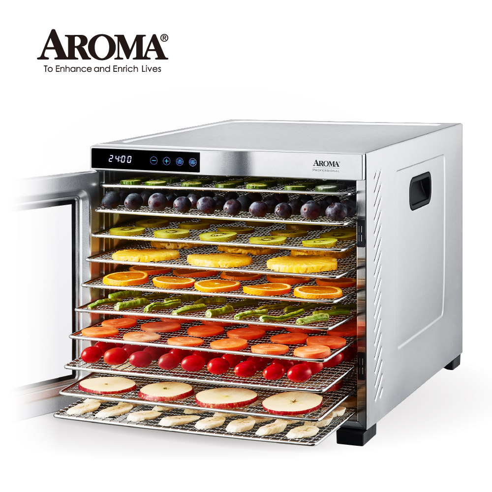【美國最新款】美國 AROMA 十層全金屬食物乾燥機 乾果機 果乾機 AFD-925SD (送法國密封罐禮盒) | AROMA Housewares ...
