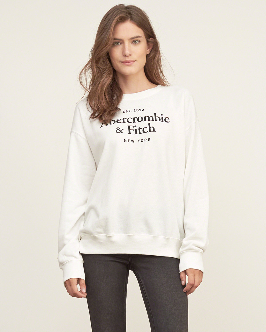 美國百分百【Abercrombie & Fitch】T恤 AF 長袖 T-shirt 大學T 女 XS S 白 F898   美國百分百 - Rakuten樂天市場