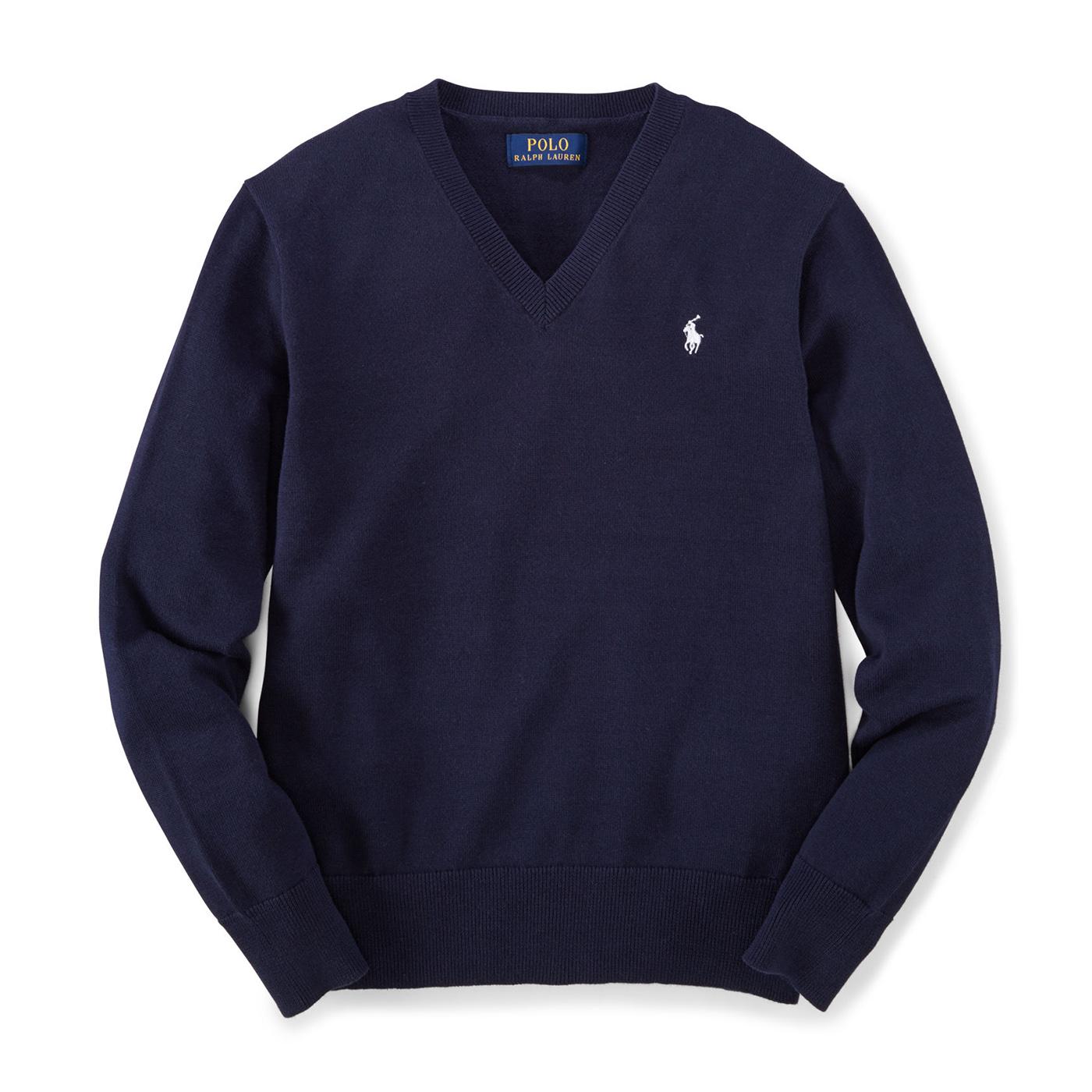 美國百分百  臺灣樂天市場:美國百分百【Ralph Lauren】針織衫 RL 線衫 長袖 Polo 小馬 V領 素面 男 深藍 XS號 G300
