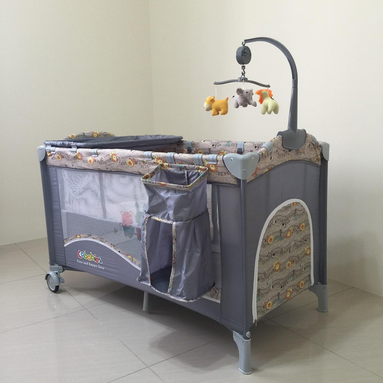 快樂奶爸  臺灣樂天市場:豪華遊戲床 加長遊戲床 多功能 嬰兒床 雙層床 可折疊 附置物袋 尿布臺