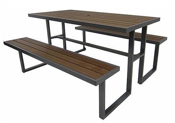 《Chair Empire》S43A12 塑木野餐桌椅組 排椅 休閒椅 休閒桌 戶外桌椅組 啤酒桌 泳池邊桌椅 公園椅   椅子帝國 ...