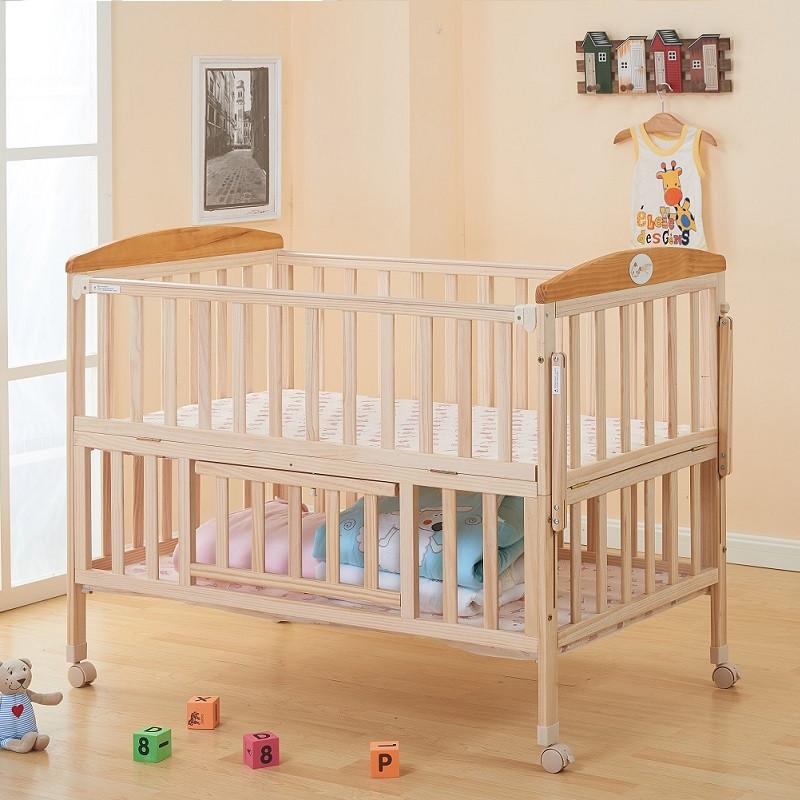 快樂奶爸 |臺灣樂天市場:嬰兒床 實木嬰兒床 小床 搖籃 加大嬰兒床 床圍 床護欄 遊戲床 附搖籃 蚊帳