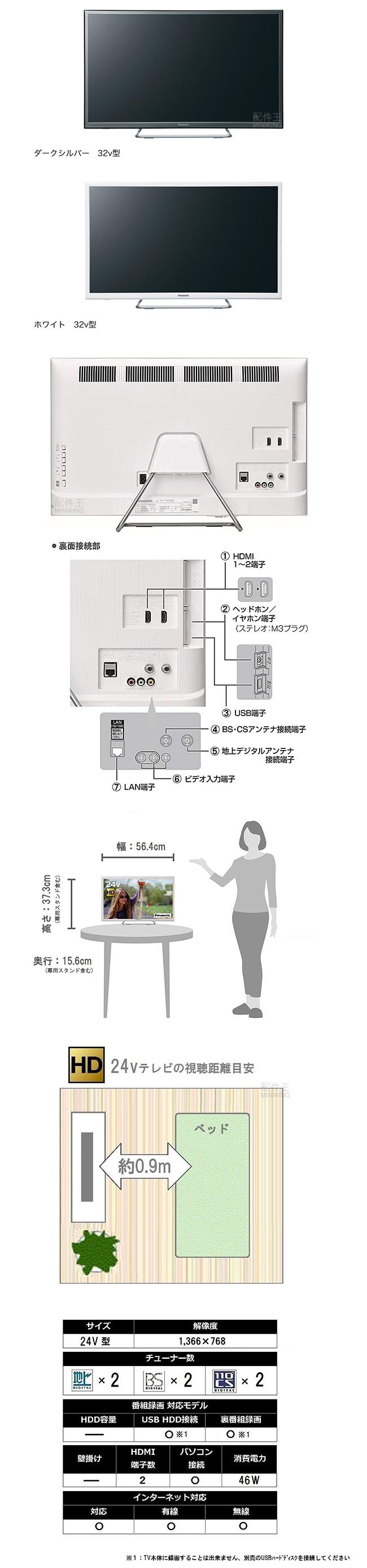【熱賣商品推薦】【配件王】日本代購 Panasonic 國際牌 VIERA TH-24ES500 24吋 液晶電視 手機操作 白色 銀色