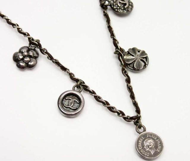 Basic Popularity Used A Chanel Chanel Icon Charm Necklace Ladys Brown X Silver Leather X Metal Material