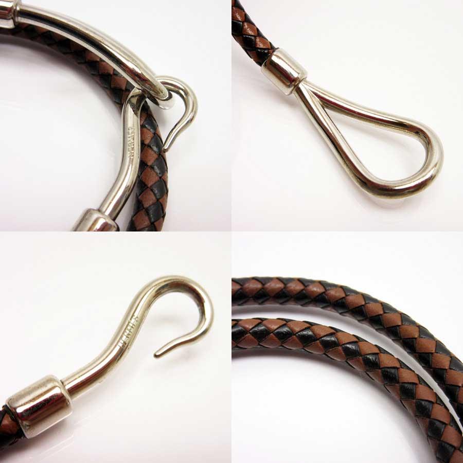 BrandValue: Hermes HERMES two bracelet jumbo camel x black x silver leather Lady's men - n8606 | Rakuten Global Market