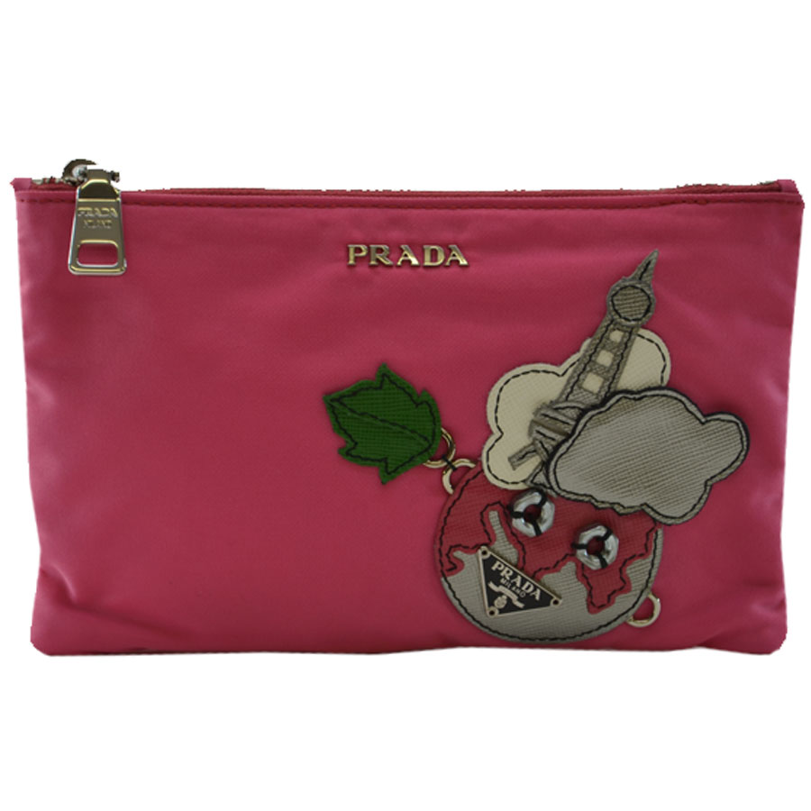 BrandValue: 普拉達PRADA門 粉紅x灰色尼龍x皮革 經典的受歡迎的多情況 女士-k7131 | 日本樂天市場