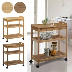 Kitchen Table Storage Renovation Budget Atom Style Recommended Trolley Castors Side Wagon Rack Caster Antique Living Wooden Retro Slim Cart Shelf Open