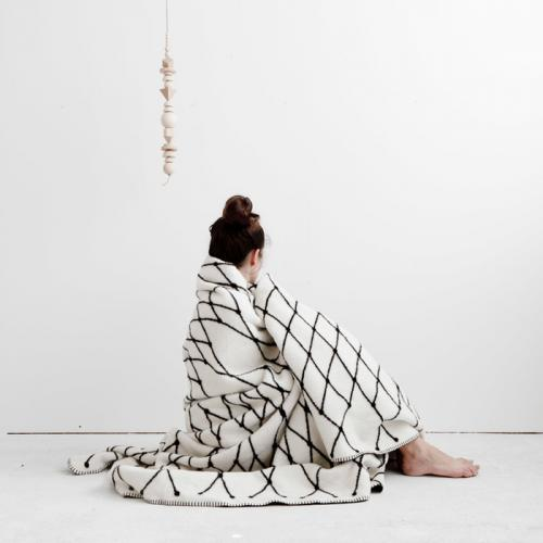 【楽天市場】bastisRIKE | THE GRID - COTTON BLANKET (black & white) | 白黒ブランケット【...