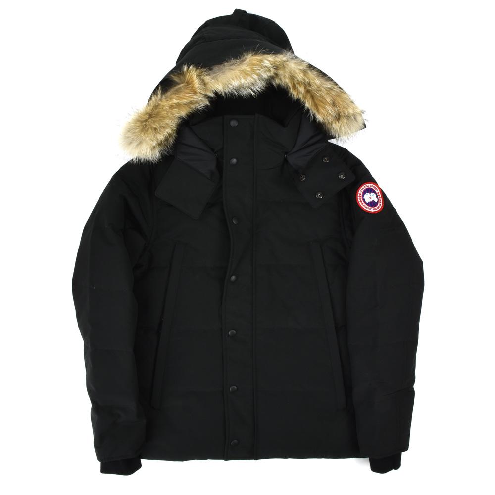 CLOUDMODA: 有加拿大鵝CANADA GOOSE 3808MA/61 WYNDHAM PARKA FUSION FIT BLACK溫德姆Parker混合音樂合身毛皮的羽毛衣黑色黑人 ...