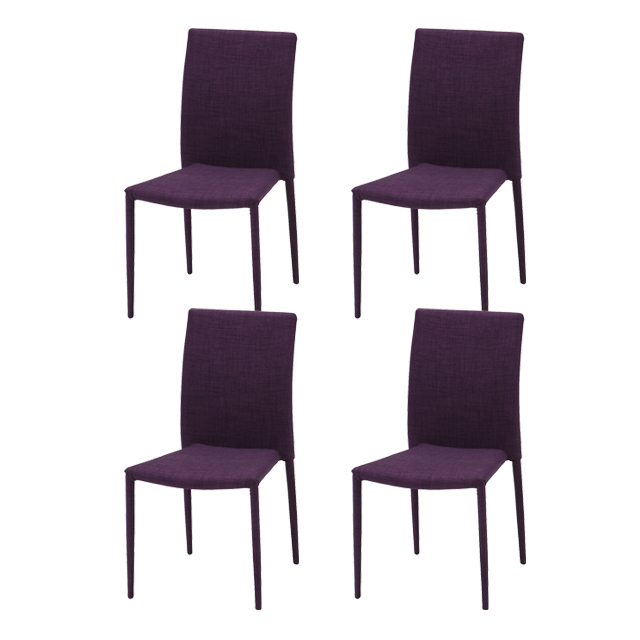 purple upholstered dining chairs wicker accent chair dreamrand 4 scandinavian style room set cafecheart