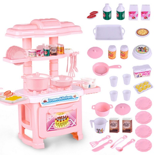 child kitchen set appliance packages lowes l toy amusement place playing house dish role of pink blue woman whom there is a pain in to new outer