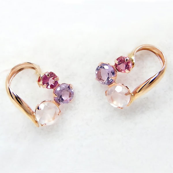 fashion jewelry em: K10PG 玫瑰石英紫水晶粉紅色電氣石心臟穿孔︰   日本樂天市場