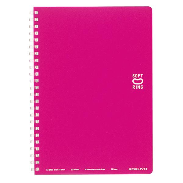 【楽天市場】(まとめ買い)コクヨ ソフトリングノート ドット入り罫線 A5 罫幅6mm 50枚 ピンク ス-SV331BT-P ...