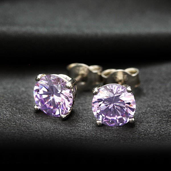 Fromny Large 1.25 Carat Cz Lavender Diamond Earrings-jewelry Presents Birthday Wedding