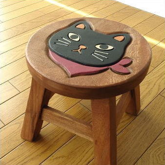 kids round chair dining room seat covers target hakusan cute natural wood chairs wooden stool cat gadgets solid material miniature children s
