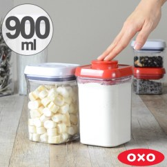 Oxo Kitchen Supplies White Countertops Interior Palette Pop Container Small Square Short 900 Ml Save Containers Sealed Plastic Transparent Condiment Stocker Condiments Put Dry