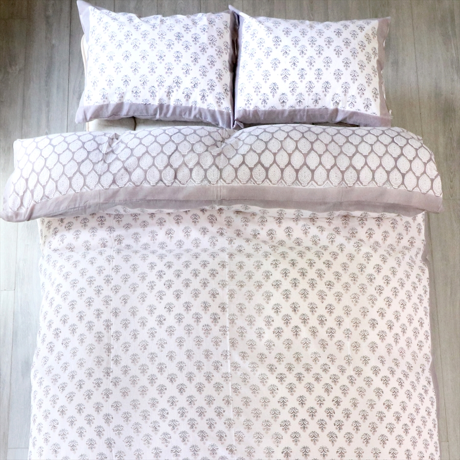 GalataBazaar: konfotakesu·單人/賒帳被褥覆蓋物,210x150cm兩面木版印刷塊印刷/印度花·三明治灰色   日本樂天市場