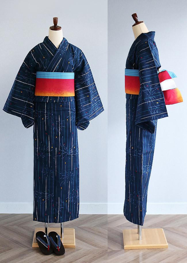 Ando Co Ltd. Kimono Cafe: 單物品線香煙火花紋日本製造布料變化編織女子的浴衣。浴衣大的尺寸小的尺寸   日本樂天 ...